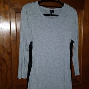 Gray 3/4 Sleeve w/faux leather stripe